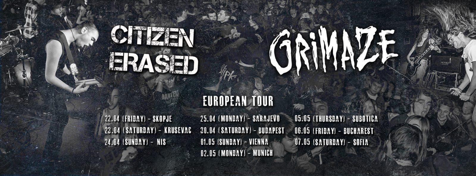 Grimaze & Citizen Erased EU Tour all dates fb fin